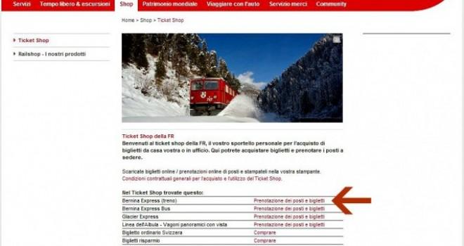 Come acquistare online i biglietti del Trenino Rosso del Bernina