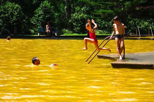 Tuffo nella piscina termale del parco Terra Nostra, a Furnas.