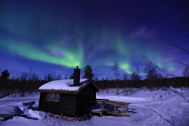 aurora boreale con bambini