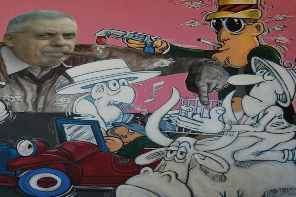 """Immagine di Benito Jacovitti nel bar che porta il nome di un suo celebre personaggio """"Cocco Bill"""""""